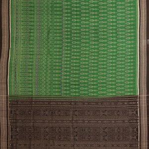 Green Traditional Sambalpuri ikat cotton Saree