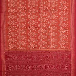 Brown Traditional Sambalpuri ikat cotton Saree