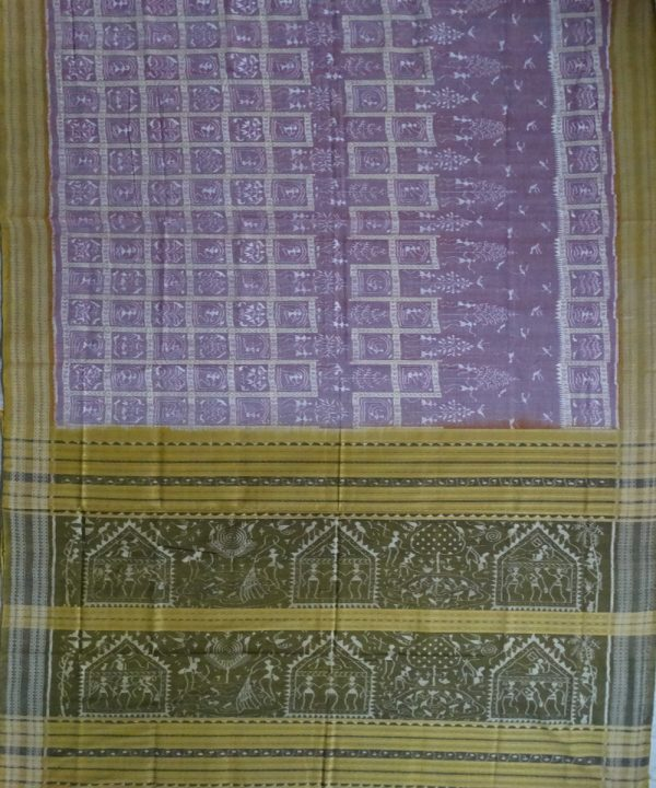 English Lavender ikat cotton Saree