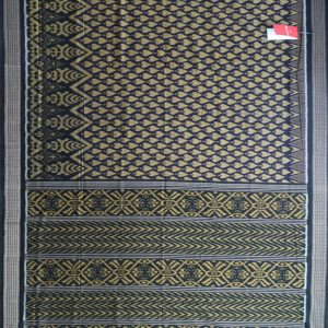 Unique Shiny Blue-Magenta Violet,Black & Dark Goldenrod Traditional (tie & dye) Sambalpuri ikat cotton Saree