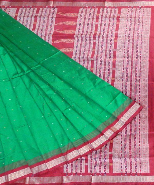 Parrot Green bomkai silk saree