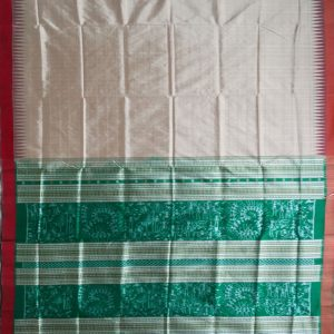 Ecru ikat silk saree