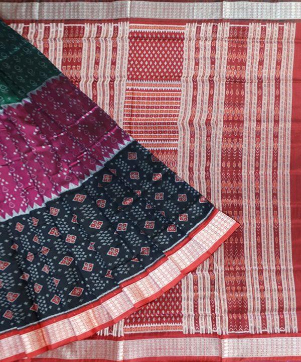 Multi colour ikat silk saree