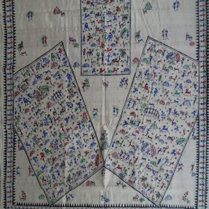 Off White tribal pattachitra saree