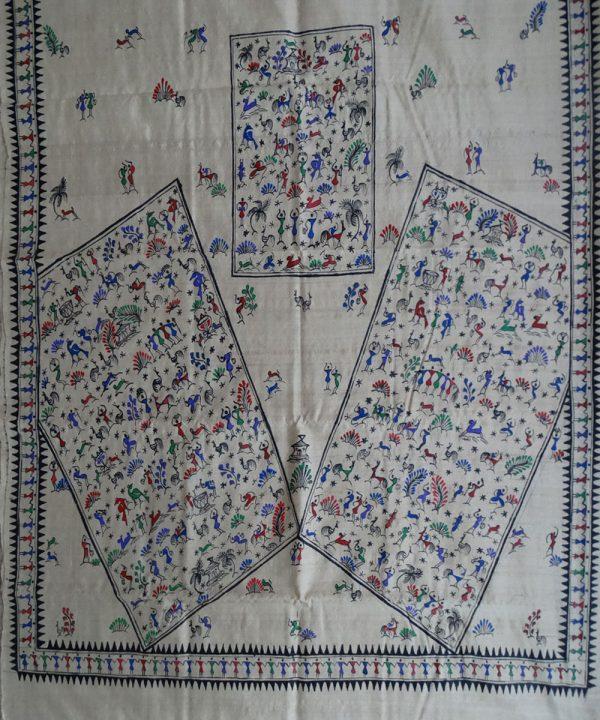 Off White tribal pattachitra saree