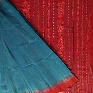 Cyan Cornflower Blue tussar silk Saree