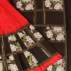 Black silk pattachitra saree