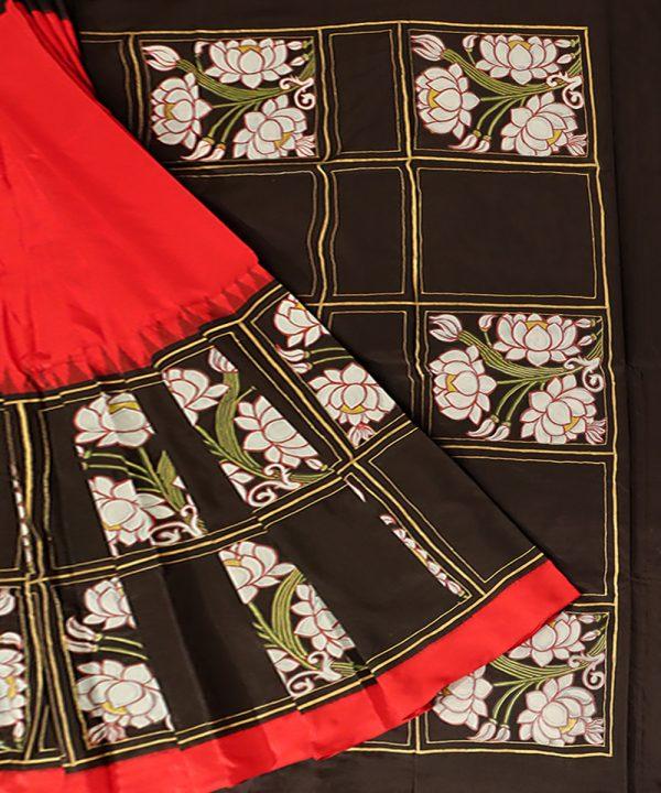 Black silk pattachitra saree