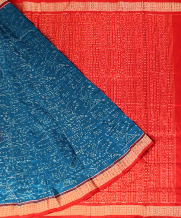Brandeis blue nabakothi silk saree