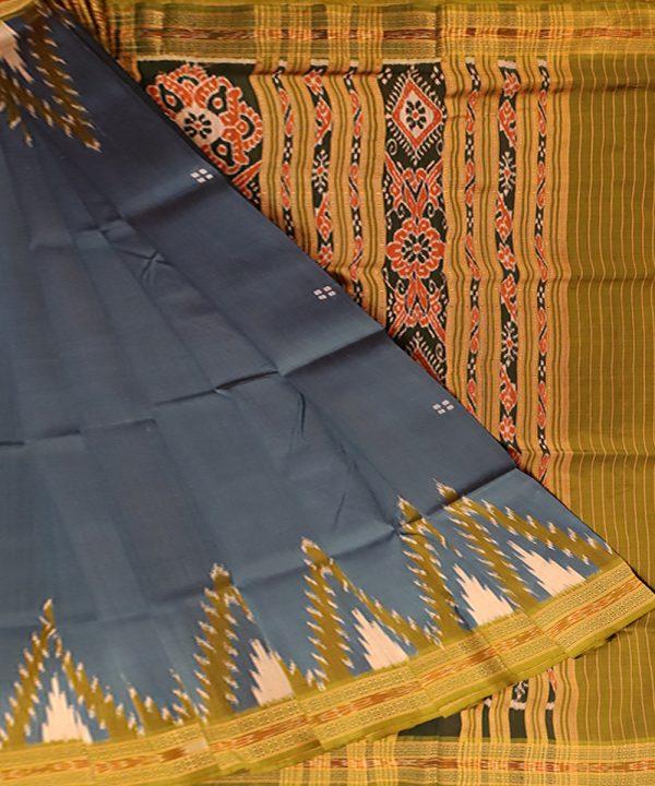 Peacock blue khandua silk saree