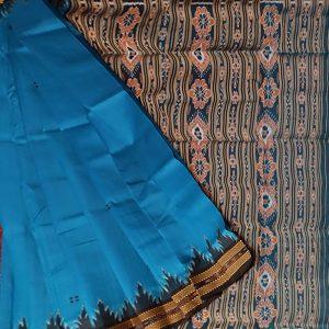 Dodger Blue khandua silk saree