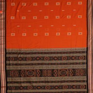 Deep Carrot Orange Bomkai cotton saree