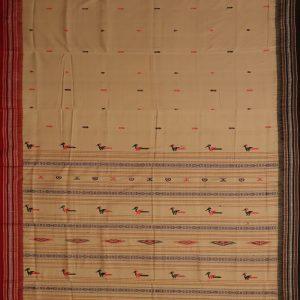 Dark Vanilla Bomkai cotton saree