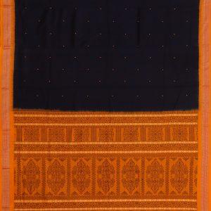 Ink blue bomkai cotton saree