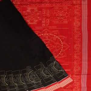 Black ikat sambalpuri silk saree
