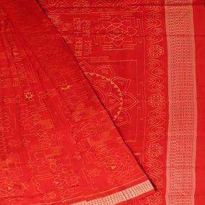 Red ikat sambalpuri silk saree