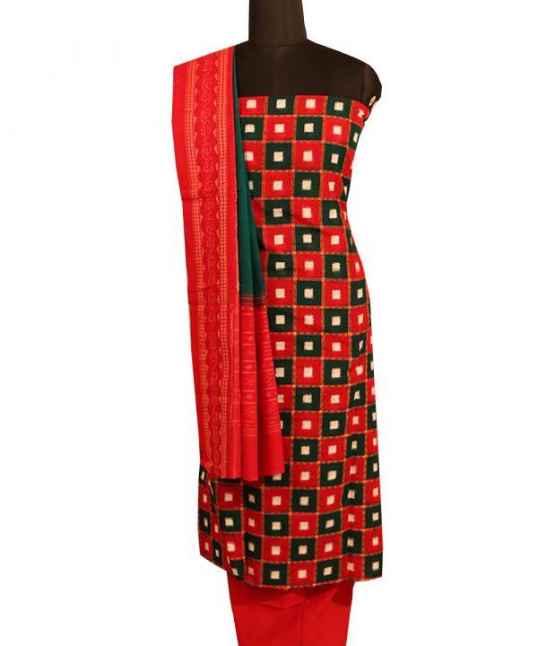 Dark red,Green Pasapalli sambalpuri cotton Dress material