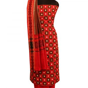 Red,Chestnut sambalpuri cotton Dress material