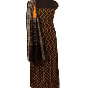 Black sambalpuri cotton Dress material