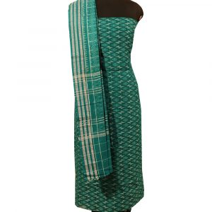 Deep Green-Cyan Turquoise sambalpuri cotton Dress material