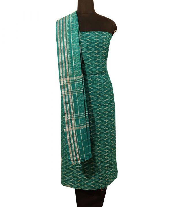 Deep Green-Cyan Turquoise sambalpuri cotton Dress material