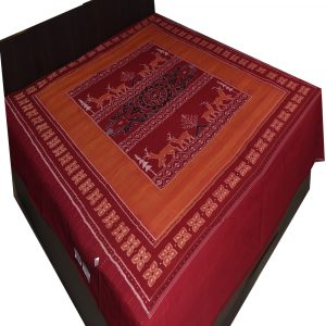 Cocoa Brown & Crimson Red Double Bed Cover