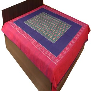 Blue, green and violet Double Bed Cover