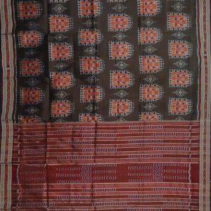 Dark brown khandua silk saree
