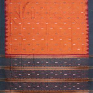 Orange Bomkai cotton Saree